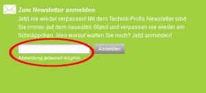 Technik Profis.de Deutschland Newsletter